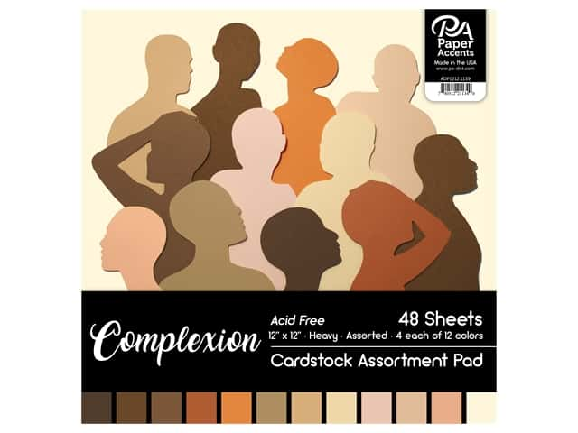 "Paper Accents Cardstock Pad 12""x 12"" Complexion Assortment 48pc"