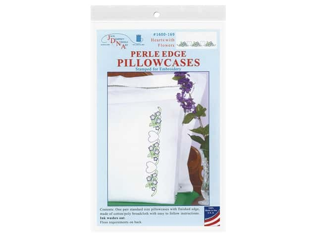Jack Dempsey Perle Edge Pillowcase - Hearts with Flowers