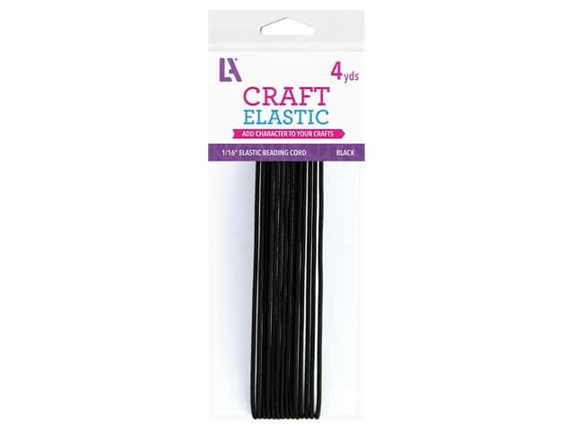 Leisure Arts Elastic Beading Cord - 1/16 in. x 4 yd. Black