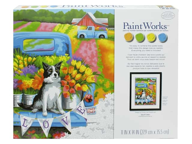 Paint Works Paint By Number Kit 11 in. x 14 in. Flower Power Dog