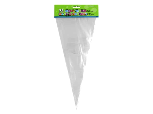 Unique Party Bags Cone Cello Clear 25 pc