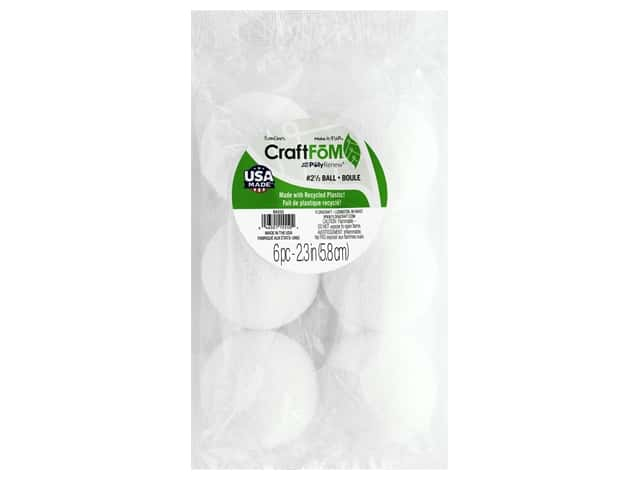 FloraCraft Styrofoam Ball - 2 1/2 in. White 6 pc.