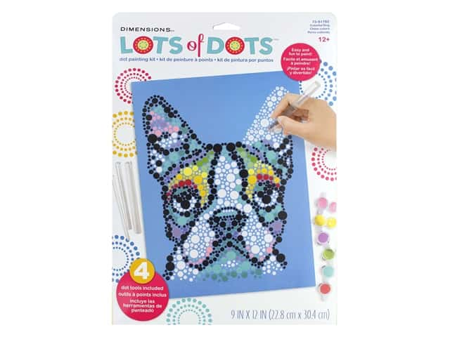 Dimensions Lots of Dots Dot Painting Kit - 9 x 12 in. Colorful Dog