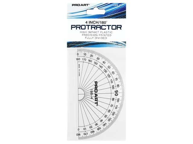 Pro Art 180 Degree Protractor - 4 in. Clear