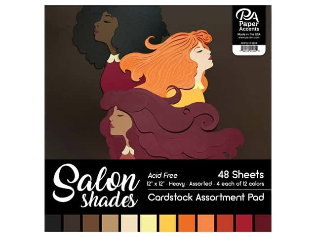 Paper Accents Cardstock Pad 12 in. x 12 in. Salon Shades Assortment 48 pc