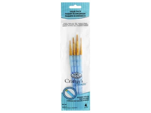 Royal Crafter's Choice Golden Talkon Round Brush Set 4 pc.
