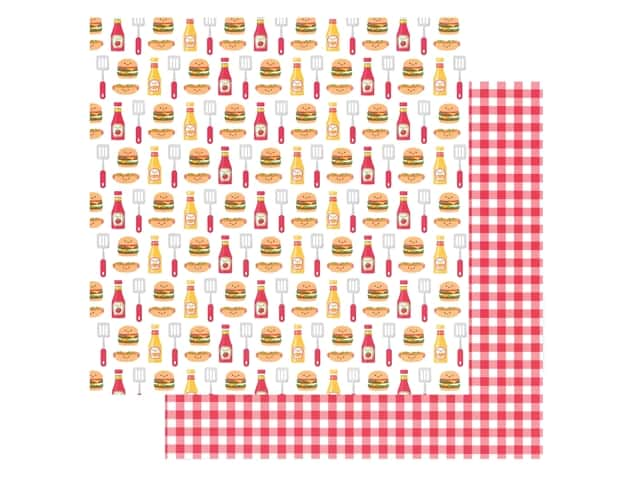 Doodlebug Collection Bar-B Cute Paper 12 in. x 12 in. Picnic Plaid