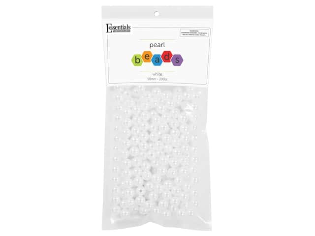 Essentials By Leisure Arts Plastic Pearls - 10 mm White 200 pc.