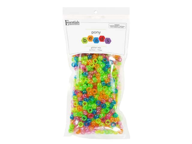 Essentials By Leisure Arts Pony Beads -  6 x 9 mm Glitter Mix 750 pc.