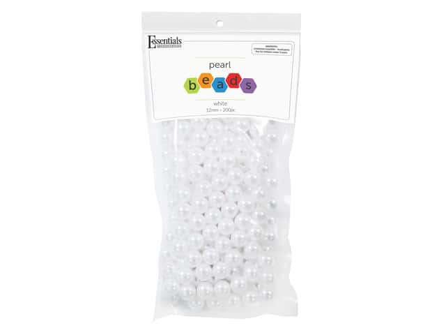 Essentials By Leisure Arts Plastic Pearls - 12 mm White 200 pc.
