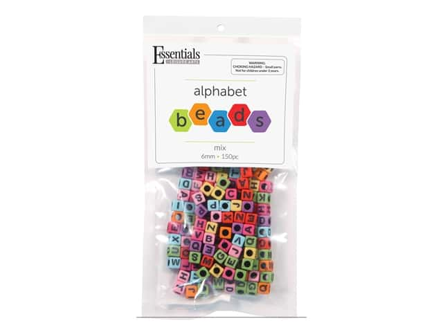 Essentials By Leisure Arts Cube Beads - 6 mm Alphabet Color Mix 150 pc.