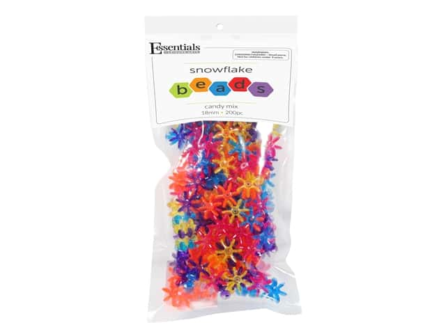 Essentials By Leisure Arts Bead Snowflake Bead 18 mm Candy Mix 200 pc