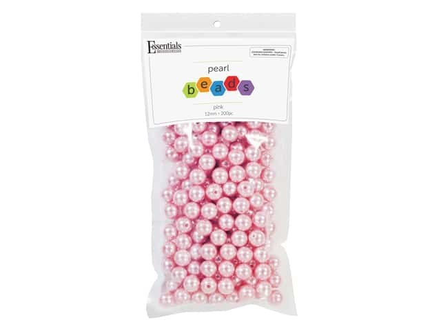 Essentials By Leisure Arts Plastic Pearls - 12 mm Pink 200 pc.