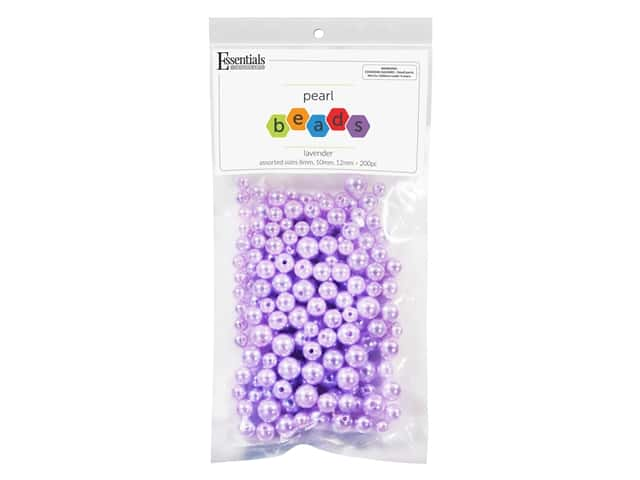 Essentials By Leisure Arts Plastic Pearls - Assorted Size Lavender 200 pc.