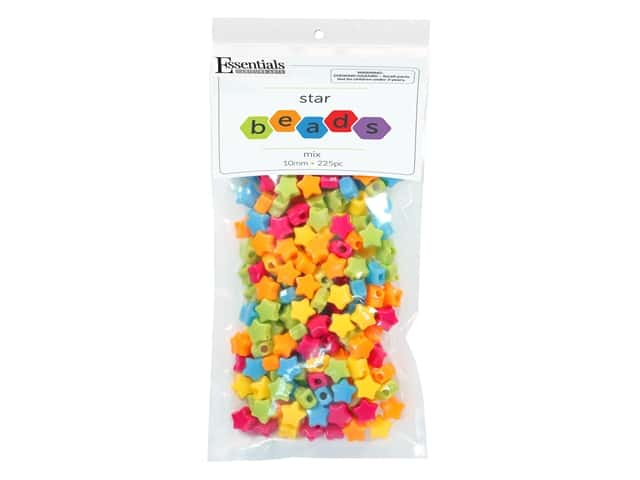Essentials By Leisure Arts Bead Star Bead 12 mm Mix 225 pc