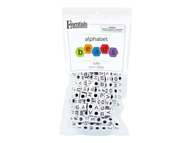 Essentials By Leisure Arts Cube Beads - 7 mm Alphabet White 250 pc.