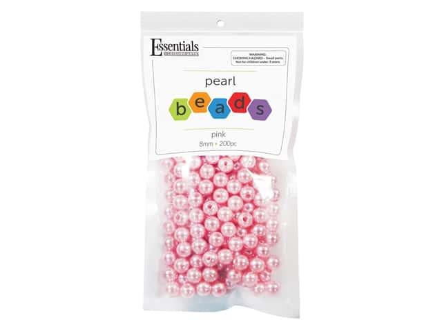 Essentials By Leisure Arts Plastic Pearls - 8 mm Pink 200 pc.