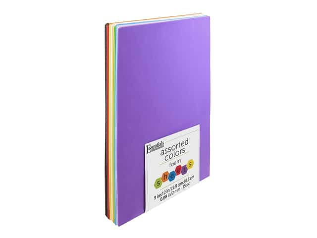 Essentials By Leisure Arts Foam Sheet 9 in. x 12 in. 2 mm Assorted 15 pc