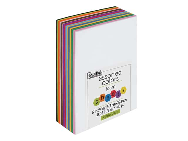 Essentials By Leisure Arts Foam Sheet 6 in. x 9 in. 2 mm Value Pack 40 pc
