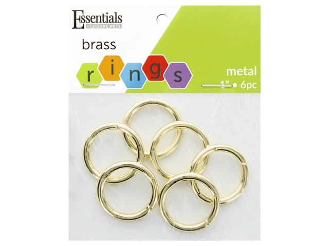 Essentials By Leisure Arts Metal Ring 1.5 in. Brass 6 pc