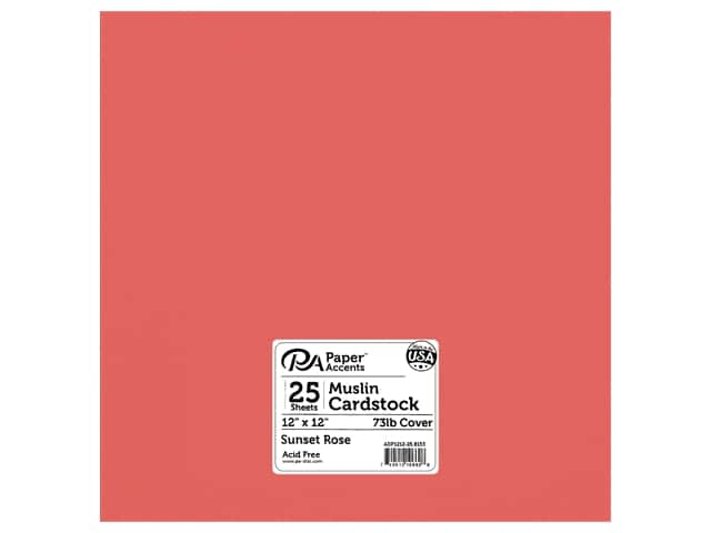 Paper Accents Cardstock 12 in. x 12 in. Textured 73 lb Sunset Rose 25 pc