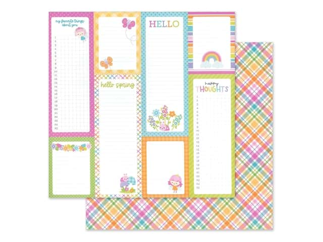 Doodlebug Collection Fairy Garden Paper 12 in. x 12 in. Pixie Plaid