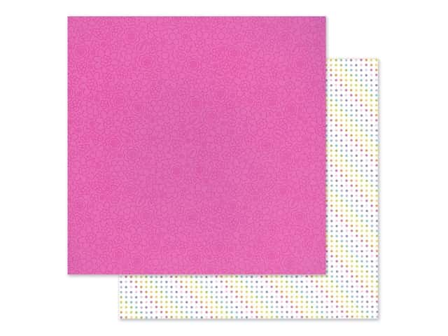 Doodlebug Collection Fairy Garden Paper 12 in. x 12 in. Pink Posies