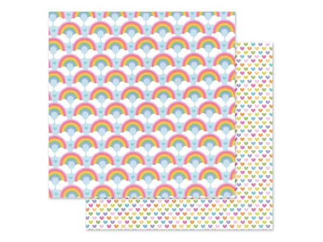 Doodlebug Collection Fairy Garden Paper 12 in. x 12 in. Rainbow Love