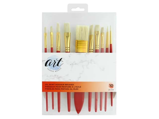 American Crafts Art Supply Basics Oil Paint Hoghair Brushes 10 pc