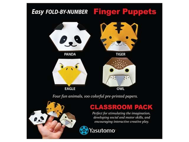 Yasutomo Origami Paper Finger Puppets Classroom Pack