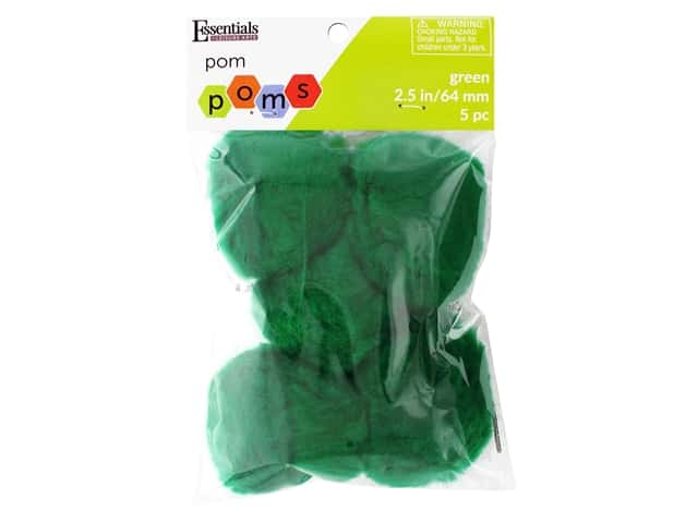 Essentials By Leisure Arts 2 1/2 in. Pom Poms - Green 5 pc.