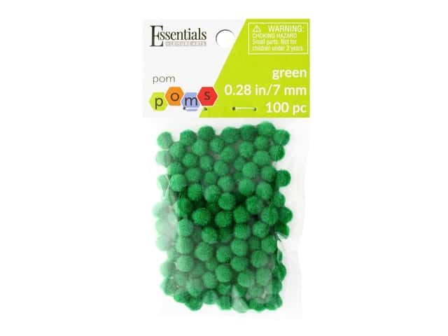 Essentials By Leisure Arts 1/4 in. Pom Poms - Green 100 pc.