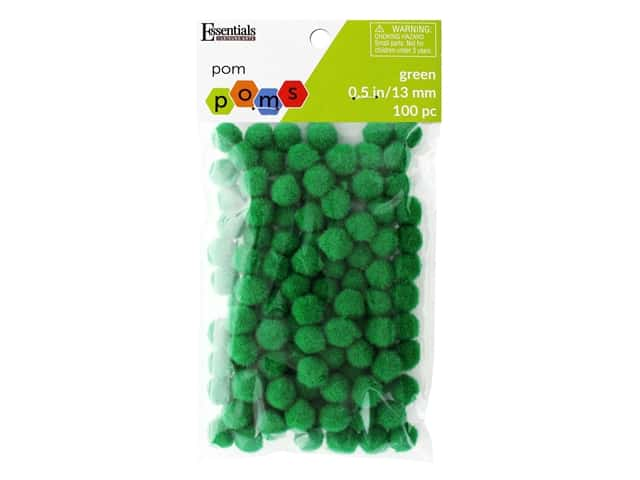 Essentials By Leisure Arts 1/2 in. Pom Poms - Green 100 pc.