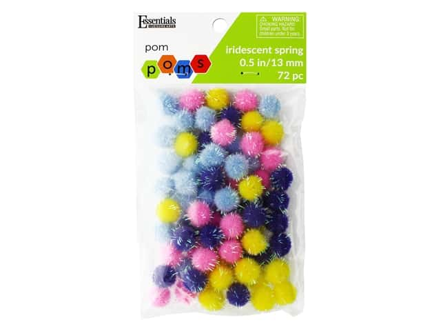 Essentials By Leisure Arts 1/2 in. Pom Poms - Iridescent Spring 72 pc.