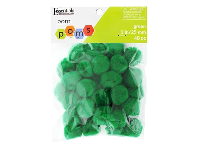 Essentials By Leisure Arts 1 in. Pom Poms - Green 40 pc.