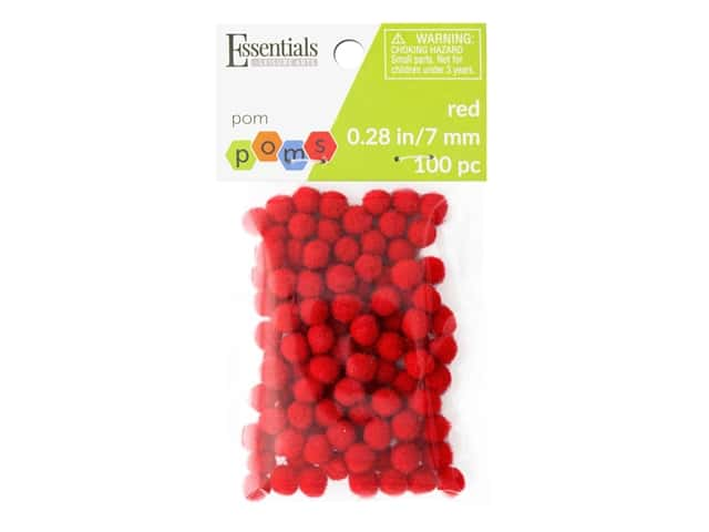 Essentials By Leisure Arts 1/4 in. Pom Poms - Red 100 pc.