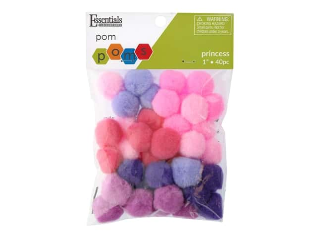 Essentials By Leisure Arts 1 in. Pom Poms - Princess Assorted 40 pc.
