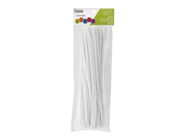 Essentials By Leisure Arts Chenille Stems - 6 mm x 12 in. - White 100 pc.