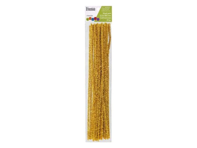 Essentials By Leisure Arts Chenille Stems - 6 mm x 12 in. - Tinsel Gold 25 pc.