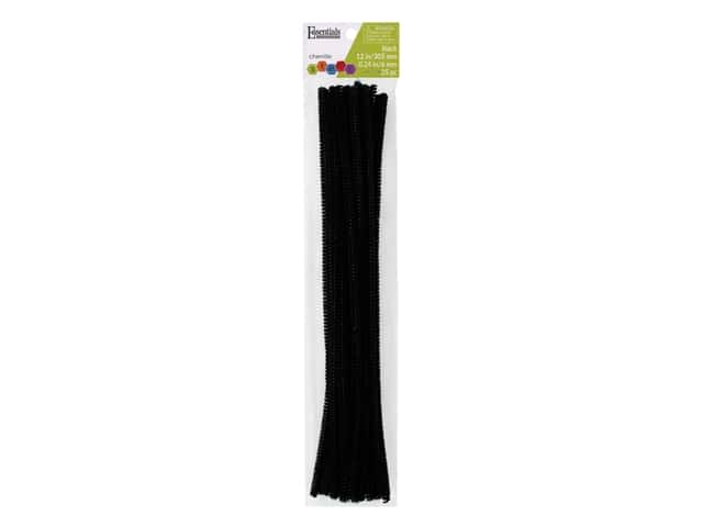 Essentials By Leisure Arts Chenille Stems - 6 mm x 12 in. - Black 25 pc.