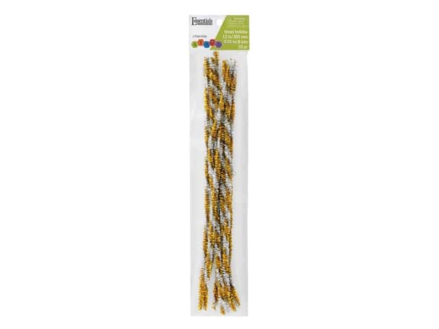 Essentials By Leisure Arts Chenille Stems - 6 mm x 12 in. - Tinsel Gold/Silver 10 pc.