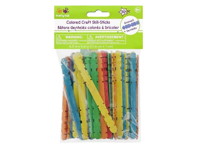 Craft Medley Wood Skill Sticks 4 1/2 in. Colored 100 pc.