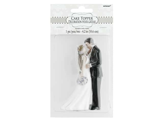Amscan Collection Bridal Cake Topper 4 1/2 in. Bride & Groom With Bouquet