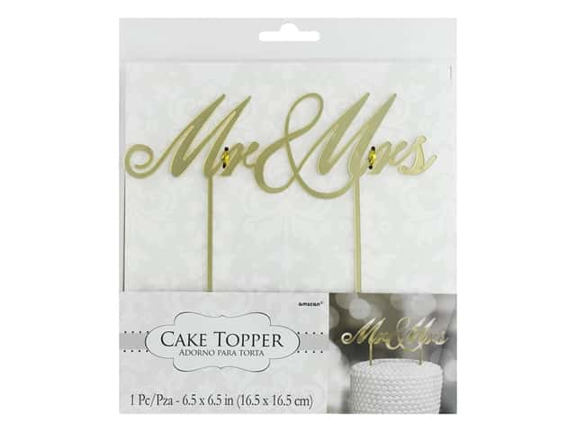Amscan Collection Bridal Cake Topper Mirror Mr. & Mrs. Gold