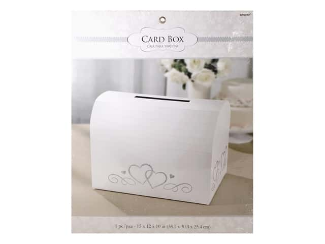 Amscan Collection Bridal Card Holder Box White With Silver Hearts