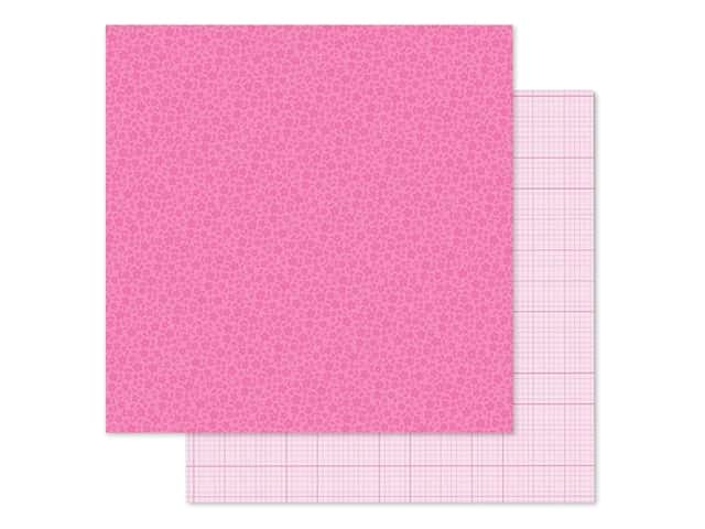 Doodlebug Collection Petite Prints Paper 12 in. x 12 in. Floral/Graph Bubblegum