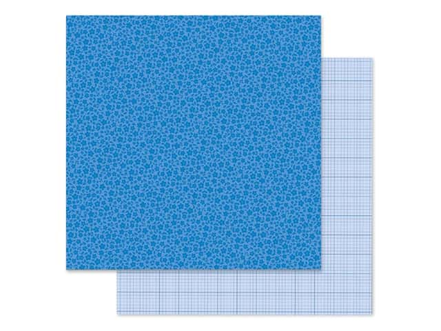 Doodlebug Collection Petite Prints Paper 12 in. x 12 in. Floral/Graph Blue Jean