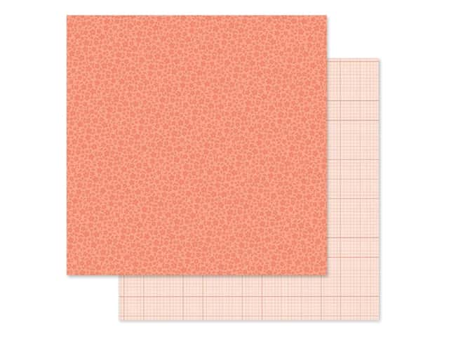 Doodlebug Collection Petite Prints Paper 12 in. x 12 in. Floral/Graph Coral