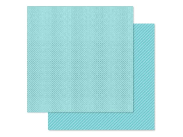 Doodlebug Collection Petite Prints Paper 12 in. x 12 in. Dot/Stripe Swimming Pool