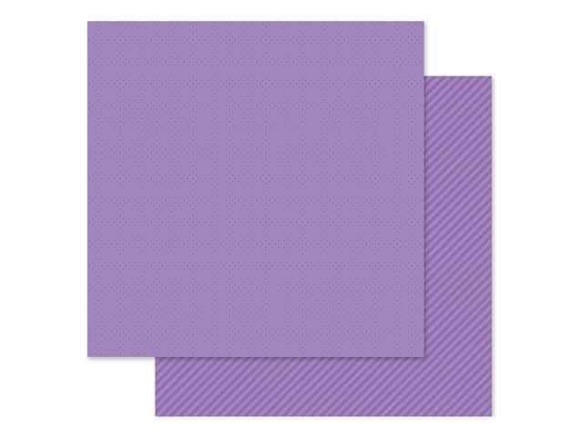 Doodlebug Collection Petite Prints Paper 12 in. x 12 in. Dot/Stripe Orchid
